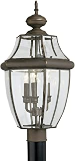 Sea Gull Lighting 8239-71 Lancaster Three-Light Outdoor Post Lantern with Clear Curved Beveled Glass Panels, Antique Bronze Finish