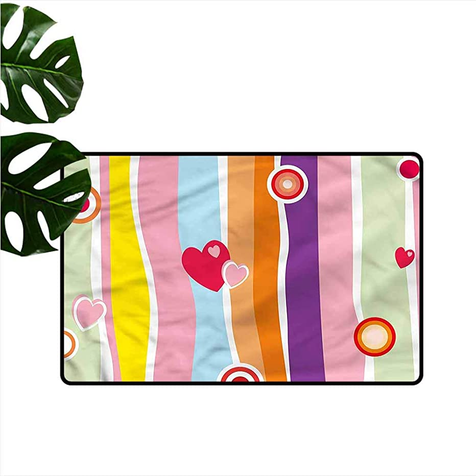 Washable Doormat Rainbow Colorful Stripes and Hearts Personality W16 xL24