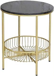 WZHZJ Moderne Minimaliste Chambre Table de Chevet Marbre Petit Table Basse en Fer forgé Table de Chevet Canapé Table d'app...