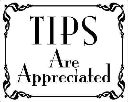 American Vinyl White Tips are Appreciated Sticker (Cafe bar Bartender jar Accept)
