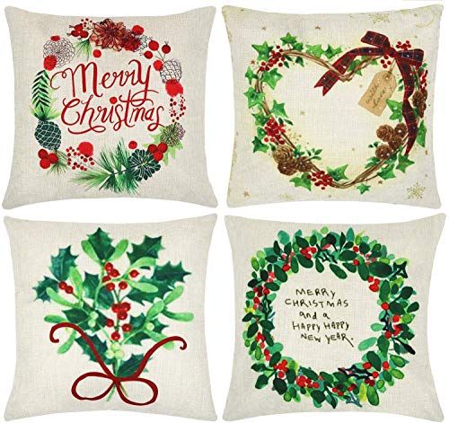 ZUEXT Merry Christmas Wreath Decorative Throw Pillow Covers 18 x 18 Inch Set of 4, Soft Cotton Linen Square Outdoor Cushion Cover Pillow Case Pillowcase for Couch Sofa Bed Car(Happy New Year)