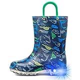 [HugRain] 長靴 レインブーツ キッズ 男の子 子供 光る靴 レインシューズキッズ 恐竜柄 幼児 防水 軽量 滑り止め 通園 梅雨対策 (ブルー、18cm)