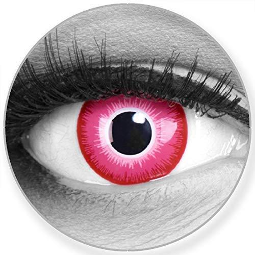 Farbige Kontaktlinsen Emine in pink weiss – Manga Anime Linsen weich ohne Stärke 2er Pack + gratis Behälter – 12 Monatslinsen - perfekt zu Halloween Karneval Fasching oder Fasnacht