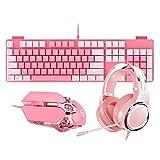 ピンクの女の子のマウス キーボード セット、人間工学に基づいたキーボード+ヘッドセット+マウス、バックライト付き有線ゲーミングキーボードセット-104キー (色 : Keyboard+headset+mouse)