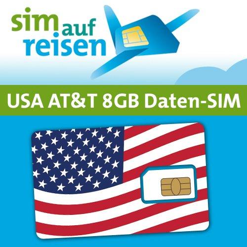 AT&T USA Prepaid Daten-Sim-Karte mit 8 GB aktiviert zum Wunschtermin durch sim-auf-reisen (Micro)