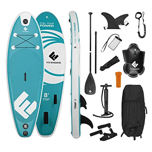 FitEngine Stand-Up-Paddle-Board Set Completo | Allrounder Trip Sup Incl. Soporte para cámara de acción, Bolsa Seca Inflable, Funda Impermeable para teléfono móvil | 244 cm Junior (8
