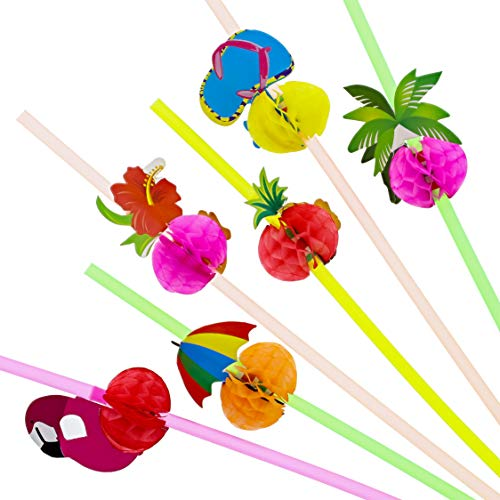 Blue Panda 100-Pack Tropical Hawaiian Beach Theme Disposable Drinking Straws for Margaritas and Cocktails Designs May Vary