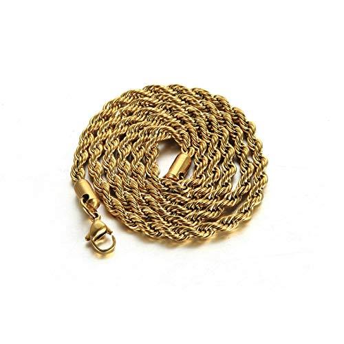 Aeici Colgante Hombre Acero Inoxidable Cadena Cuerda Collar para Hombres Oro Largo 50 Cm
