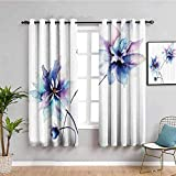 ZLYYH Cortinas Comedor Blanco flores abstracto arte 168x183cm Cortina Opaca con...