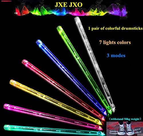 JXE JXO HD Bright LED Light Up Drum Sticks 7 Color Changing, 3 Flashing Mode, Durable Professional Musical Exercise for Kids Adults (2pcs / Pack)
