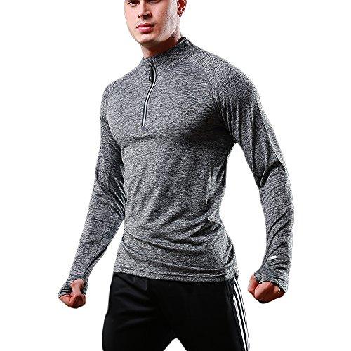 FELICON Herren Langarm Laufshirt, Schnelltrocknendes Funktions Sweatshirt, Base Layer Sportshirt, Reißverschluss am Stehkragen, Daumenlöcher, Reißverschlusstasche für Outdoor Fitness Wandern