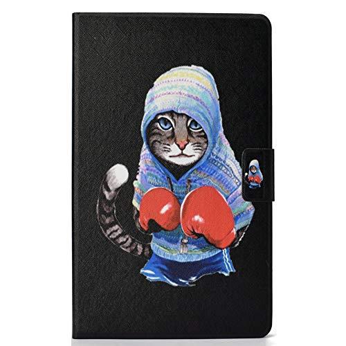Coopay 360 Grad Flip Schutz Hülle Tasche Kompatibel für Amazon Fire HD 8-Zoll-Tablet,Einzigartig Boxen Katze Rot Handschuhe Design Ultra Slim Ledertasche mit Auto Schlaf/Wach Funktion Smart Case Cover