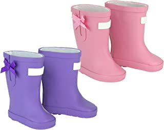 Sophia's Rain Boots for Dolls, fits 18 and 15 inch Doll | 1 Pair Light Pink, 1 Pair Purple