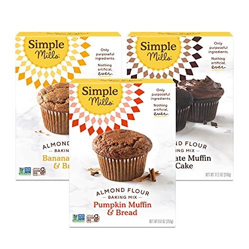 Simple Mills, Baking Mix Variety Pack, Banana Muffin & Bread, Chocolate Muffin & Cake, Pumpkin Muffin & Bread Variety Pack, 3 Count (Packaging May Vary)