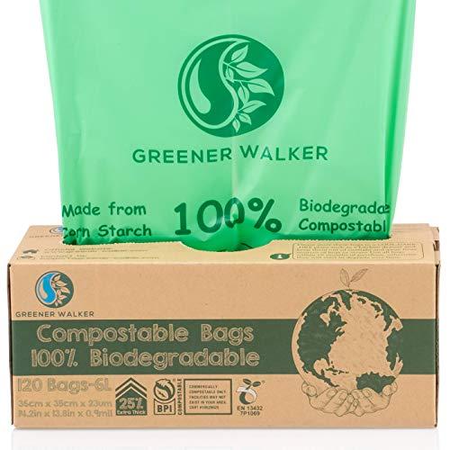 Greener Walker 25% Extra Gruesa compost Biodegradable 6L/10L/30L Bolsa Basura Alimentos Cocina Bolsas de basura(6L-120 Bolsas)