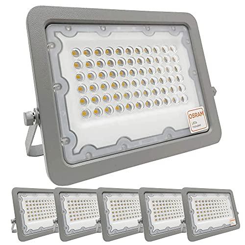 ¡OFERTA! Pack 5 unidades Foco LED OSRAM 50W Gris Slim, Iluminación Exterior IP65, Proyector terraza, jardin, patio. (Luz Fría (6000K))