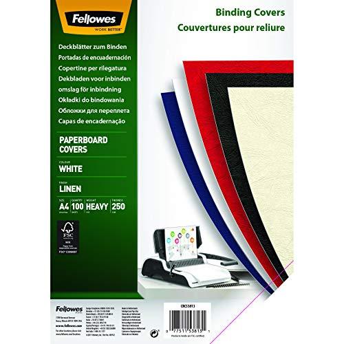 Fellowes 5381302 Bindedeckblatt DIN A4, Leinenstruktur, stabiler 250g/qm Karton, weiß, 100 Stück