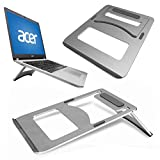 GUPi Soporte de Aluminio portátil y Plegable de refrigeración para Cuaderno – Acer – VARI Plateado metálico Acer Aspire One A01-431 (14')
