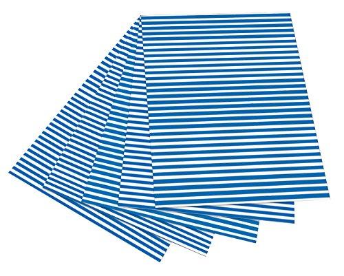 folia 6030 - Fotokarton mit Streifen blau - weiß, 50 x 70 cm, 10 Bogen, beidseitig bedruckt - zum Basteln und kreativen Gestalten von Karten, Fensterbildern und für Scrapbooking