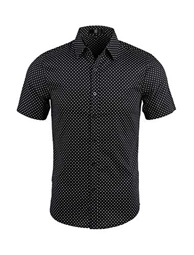uxcell Men's Printed Cotton Dress Short Sleeves Polka Dots Button Down Shirt Black 42