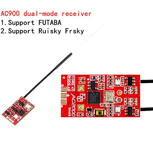 RUIZHI Futaba S-FHSS + Frsky D16 (sin telemetría) Modo de recepción dual Receptor X-Boss AC900 para Kingkong/LDARC TINY R7 Frsky X9D X12S 14SG 16S
