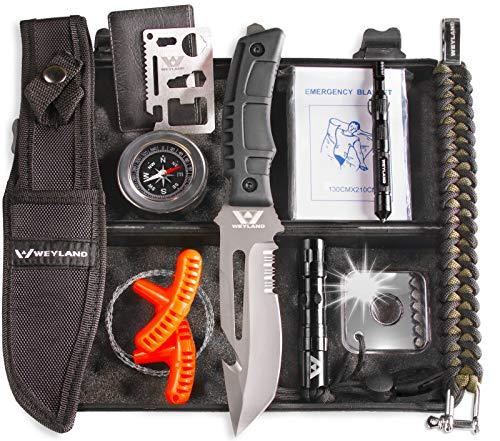 Kit de sobrevivência de emergência WEYLAND – Equipamento de sobrevivência ao ar livre, faca de Bushcraft tática de tamanho completo e ferramentas essenciais para acampamento e caminhadas para qualquer homem ao ar livre
