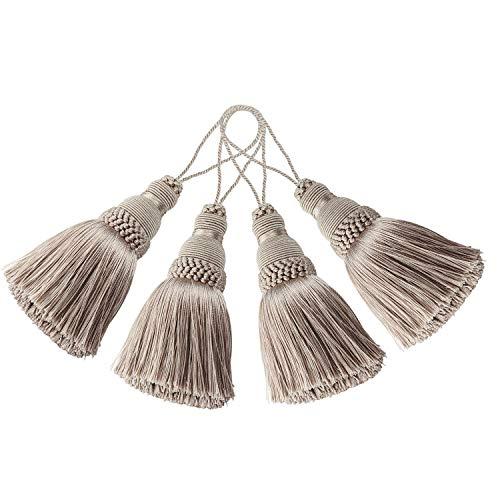 BEL AVENIR - Paquete de 4 elegantes borlas de poliéster coloridas para manualidades, accesorios de bricolaje (Khaki)