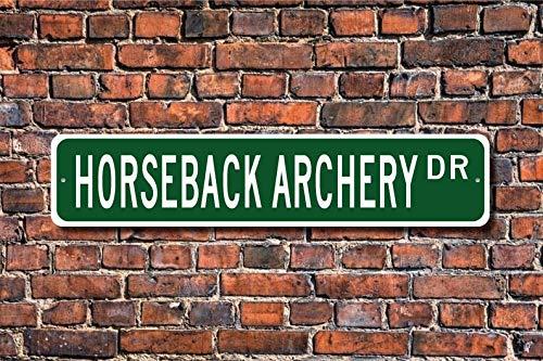 Unknow Horseback Archery, cartel de tiro con arco, caballo fanático del tiro con arco, regalo de jugador de tiro con arco, cartel de calle personalizado, cartel de metal de calidad