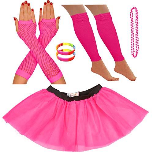 Redstar Fancy Dress® - Tutu-Röckchen, Beinstulpen, Netzhandschuhe, Perlenkette und breite Gummiarmbänder - Neonfarben - Pink - 36-40
