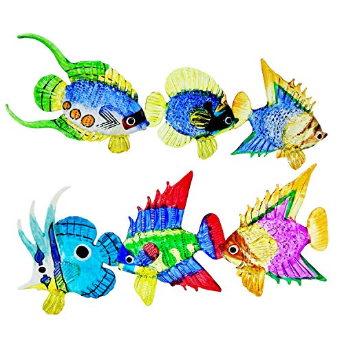 WitnyStore Glass Tropical Fish Figurines - Collectible Animal Art - Colored Hand Blown and Painted Glass Miniature Table Decor Collector s Item Perfect for Gifts and Souvenirs 2 -3  L
