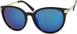 styleBREAKER - gafas de sol con forma de ojos de gato y patillas de metal, lentes redondas, de señora 09020073