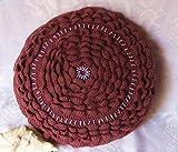Kissen Sofakissen 30 cm, 100% Merino, gestrickt, mit Perlen