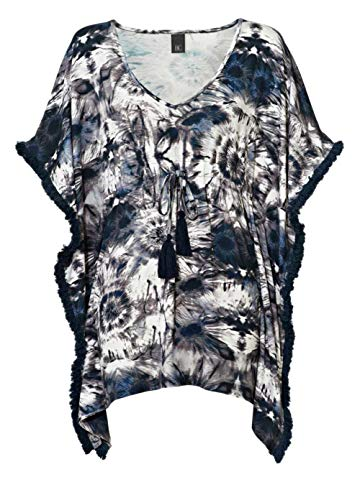 B.C. Best Connections Pullover Damen Batik Poncho mit Fledermausärmeln Überwurf, Größenauswahl:S