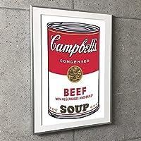 ポスター アンディ ウォーホル 特別額装マット作品/アートポスター/Campbell s Soup I Beef 1968(アンディ ウォーホル) 額装品 アルミ製ベーシックフレーム(シルバー)