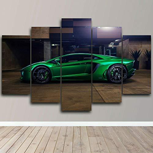 VYQDTNR Imagenes Enmarcadas Arte de Lienzo Enmarcado de 5 Piezas Lamborghin Green Sport Car Pinturas sobre Lienzo Arte de Pared para Decoraciones de Hogar Decoración de Pared Obra de Arte