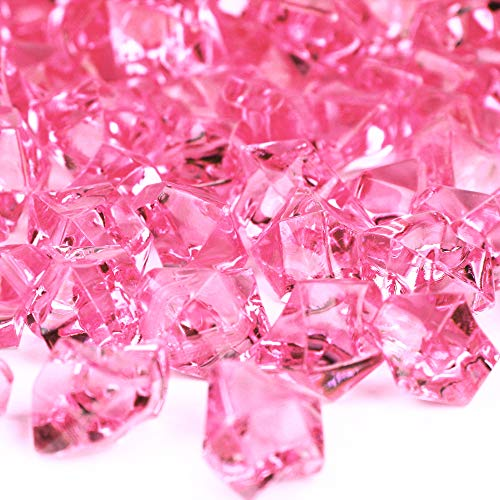 CYS EXCEL Acrylic Pink Crushed Ice Vase Fillers (Approx. 180-190 PCS, 3 Cups) | Multiple Color Choices Plastic Crushed Glass for Arts & Crafts | Acrylic Rock Gems Table Scatter