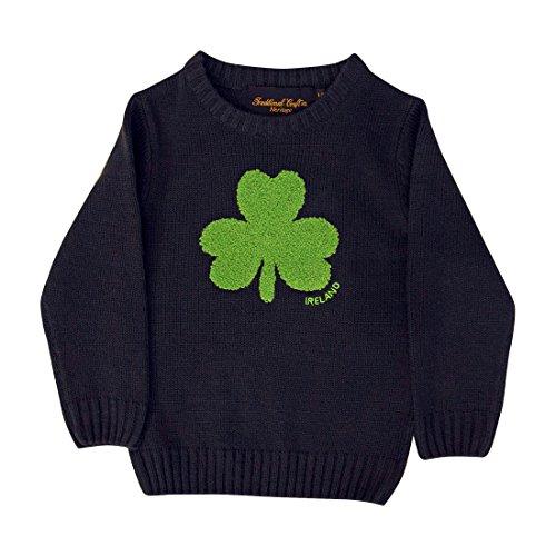 Carrolls Irish Gifts Irland-Pullover für Kinder, mit Rundhalsausschnitt und flauschigem Kleeblatt, Marineblau, Navy, 11-12 Jahre