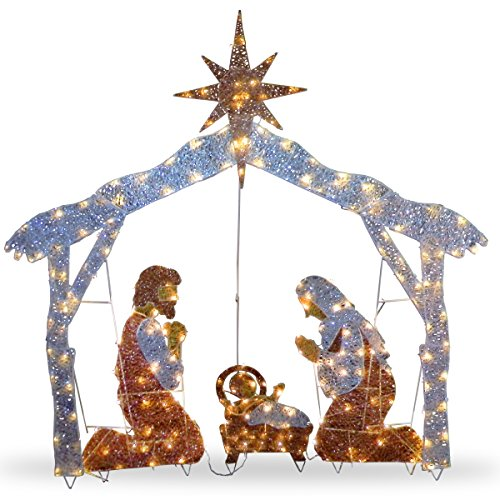 National Tree Company lit Artificial Christmas Décor Includes Pre-Strung Mini White Lights and Ground Stakes Crystal Holy Family Nativity-6 ft, 72-Inch, Multicolor