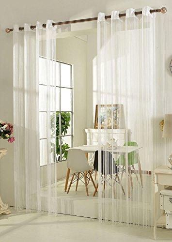 Gardinenbox Fadengardine Fadenstore Vorhang mit Ösen Raumteiler 140 x 250 cm, Weiß, 20304