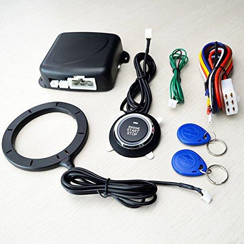 BEESCLOVER Alarme de voiture universelle 12 V avec bouton poussoir de démarrage, transpondeur sans clé, antidémarrage.