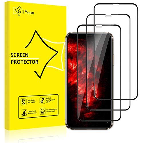 GiiYoon-3 Piezas Protector de Pantalla para iPhone 11 Pro MAX/XS MAX Cristal Templado,[Sin Burbujas] [Cobertura Completa] [9H Dureza] Vidrio Templado HD Protector Pantalla para iPhone (6.5')