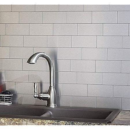 "Art3d 100-Pieces Peel and Stick Stainless Steel Backsplash Self-Adhesive Metal Tiles, 3"" x 6"" Subway Stove Backsplash (Not Magnetic)"