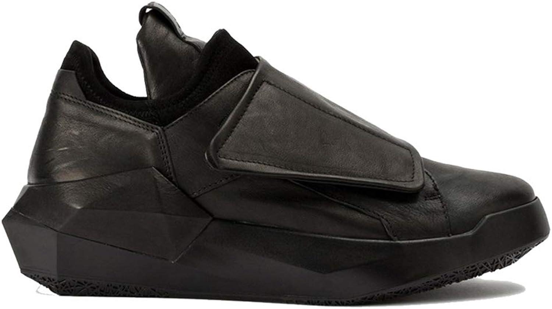 Qiusa Mens Genuine Leather Casual skor Soft Sole Non Slip Durable Andable skor (Färg  svart, Storlek  UK 9)
