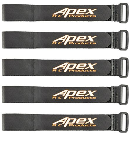 Apex RC Products 5 Pack 20mm x 300mm HD Non-Slip Battery Straps 3031A