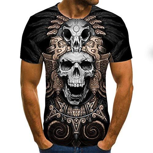 Nueva Camiseta con Calavera 3D Camiseta Punk Hombres Camiseta Casual Estampada O Cuello Hip Hop Manga Corta Talla Xxs-6Xl, Txu-1760, L