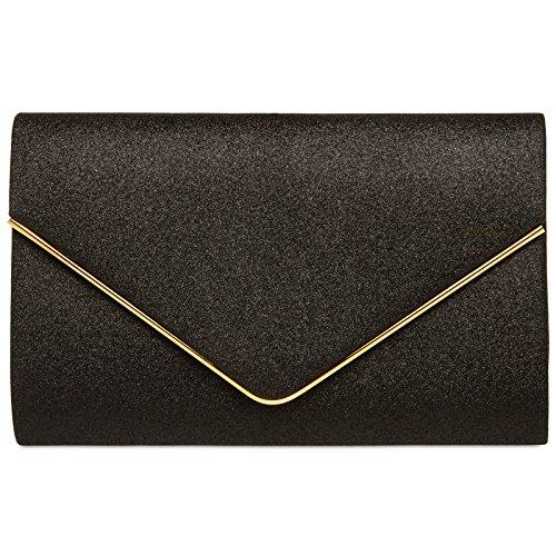 CASPAR TA365 elegante Envelope Glitzer Clutch Tasche/Abendtasche mit langer Kette, Farbe:schwarz, Größe:One Size