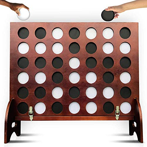 SWOOC Games - Giant Four in a Row (All Weather) Outdoor Game with Carrying Case and Noise Reducing Design - 60% Quieter - Jumbo Connect 4 Discs to Win - Oversized Yard Game for Kids, Adults, & Family