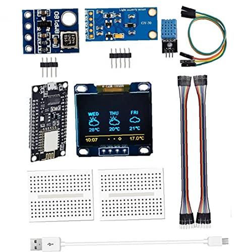 Humedad de la Temperatura Sensor de presión atmosférica Sensor sin Soldadura SOLDEBLE BREADBOARD ESP8266 Estación meteorológica Kit de módulo