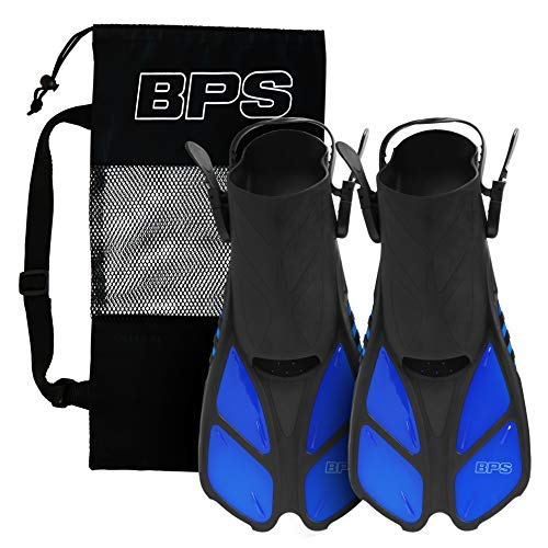 BPS Short Swim Fins - Open-Toe and Open-Heel Design - for Diving, Snorkeling, Scuba Diving - Swim Flippers for Kids and Adults - Comes with Travel Mesh Bag (Blue - S/M)