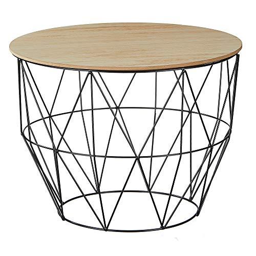 Beistelltisch Couchtisch im Industrie Design aus Metall mit Holz Tischplatten Ø 56 cm H 40cm (einzeltisch Korb schwarz Ø 56 cm H 40 cm)